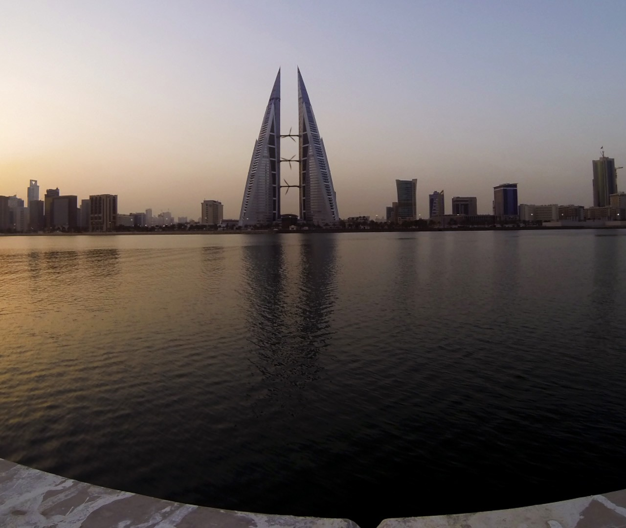 Bahrain World trade centre morning light