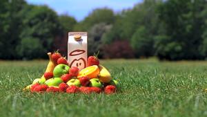 Innocent smoothie carton in park