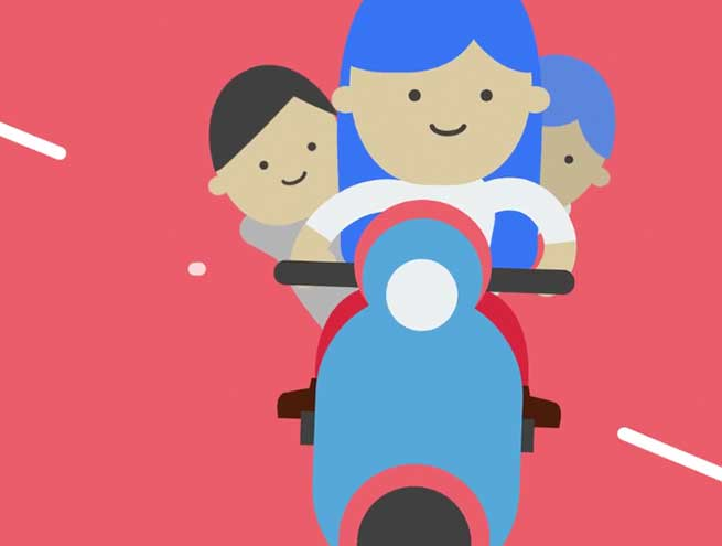 Animated explainer figures on a scooter