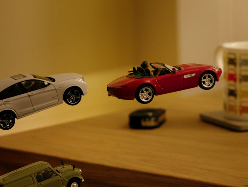 Toy tootle cars flying through the air
