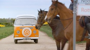 VW camper van with horses